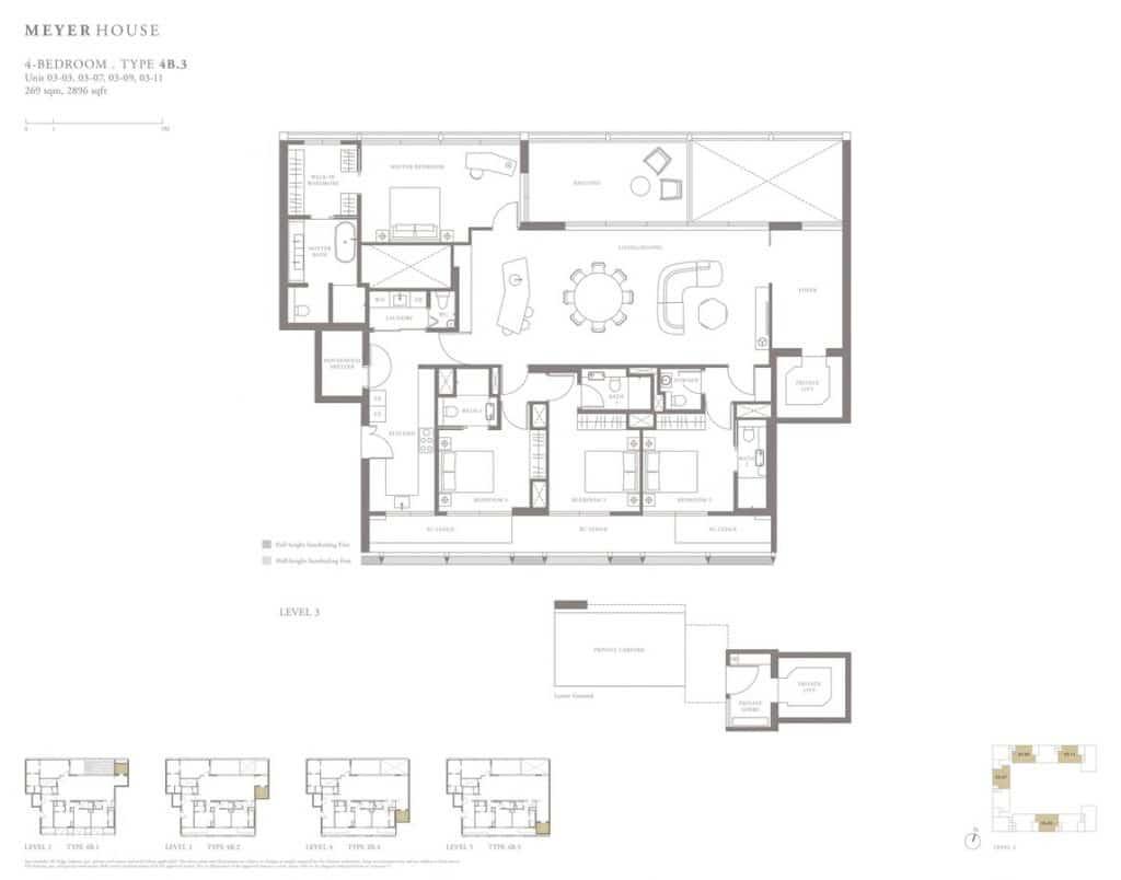 Meyer House Condo Floor Plan 4 Bedroom 4B3