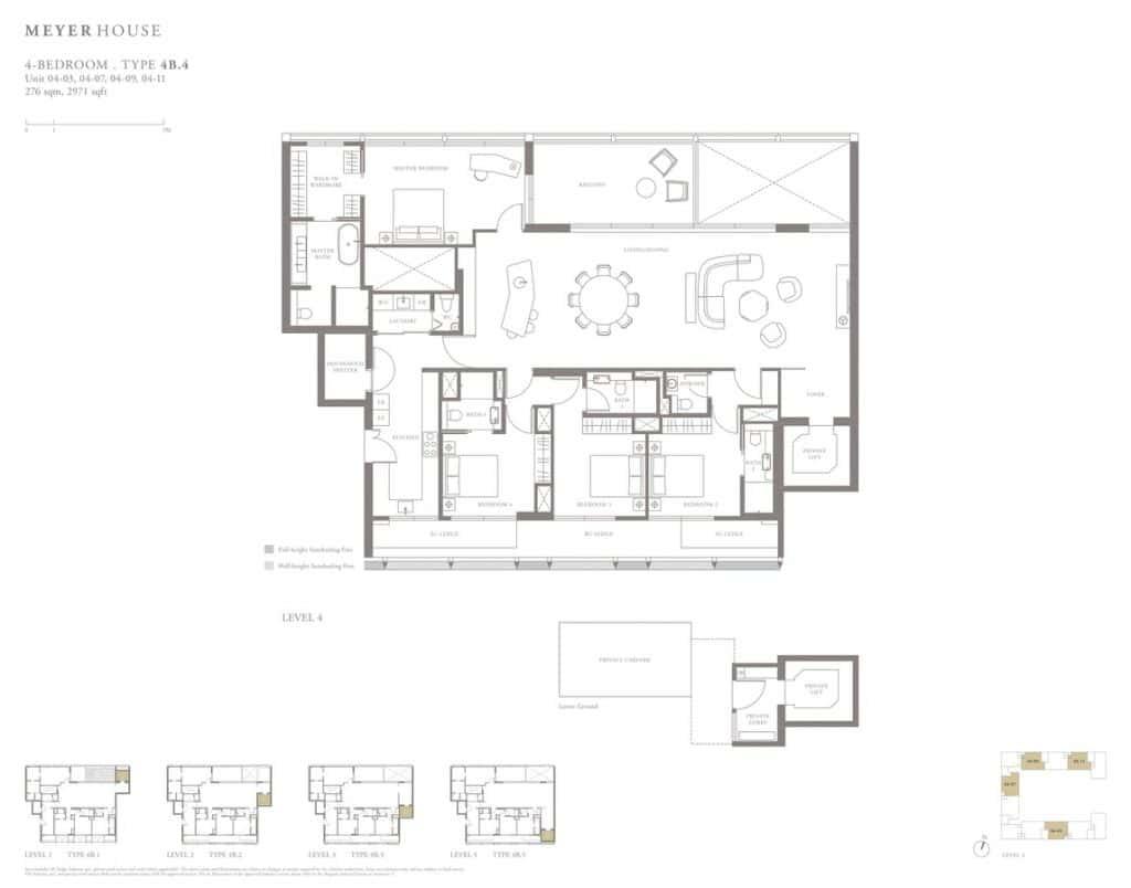 Meyer House Condo Floor Plan 4 Bedroom 4B4