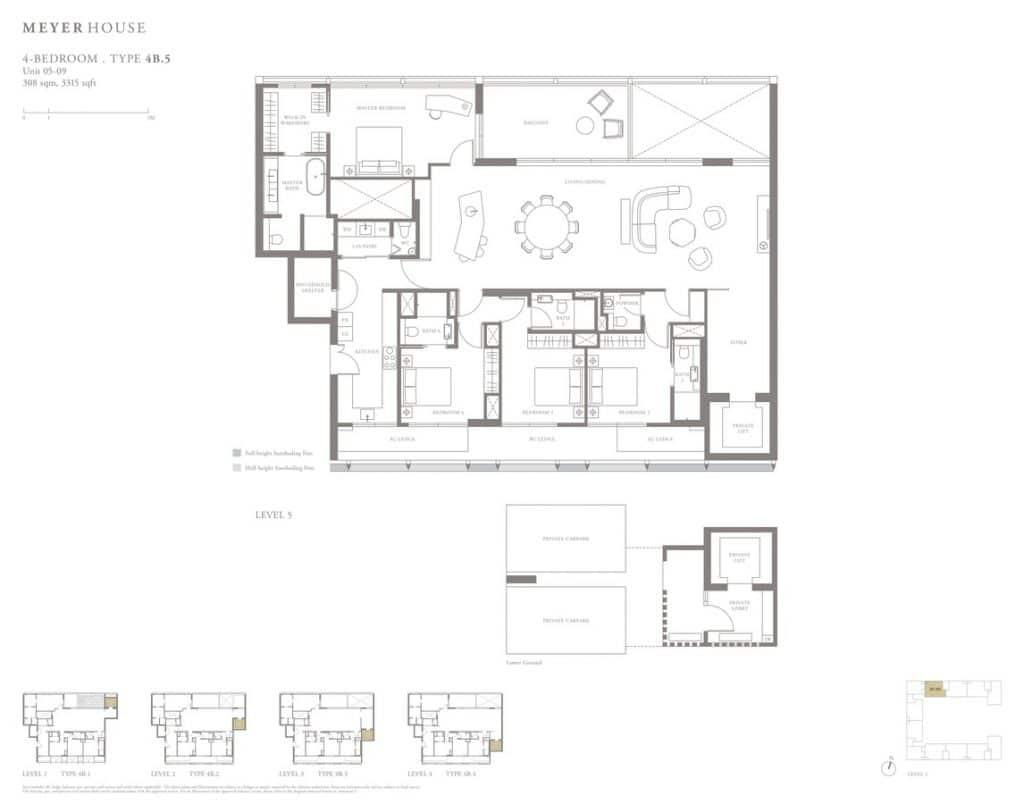 Meyer House Condo Floor Plan 4 Bedroom 4B5