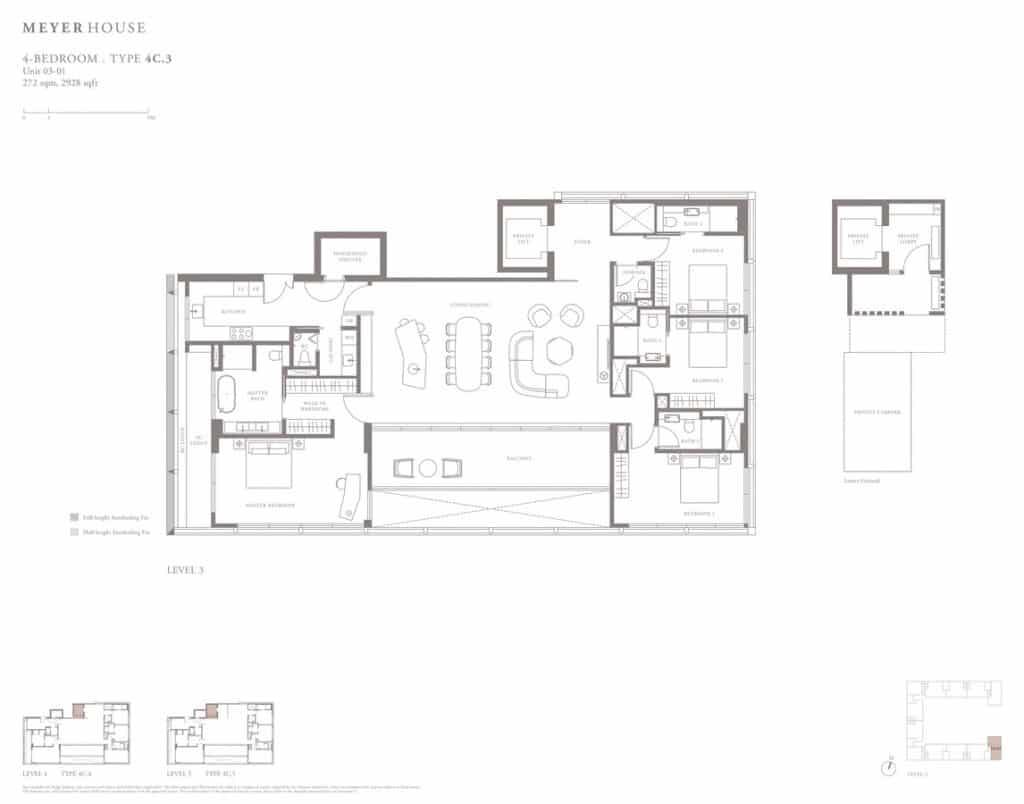 Meyer House Condo Floor Plan 4 Bedroom 4C3