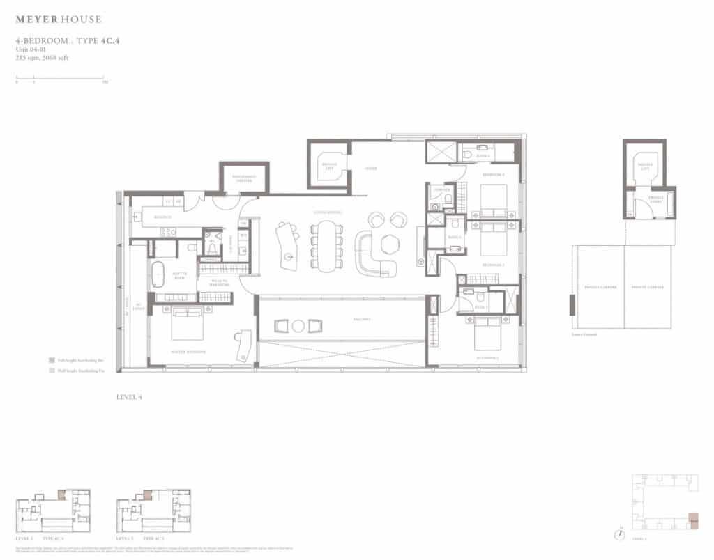 Meyer House Condo Floor Plan 4 Bedroom 4C4