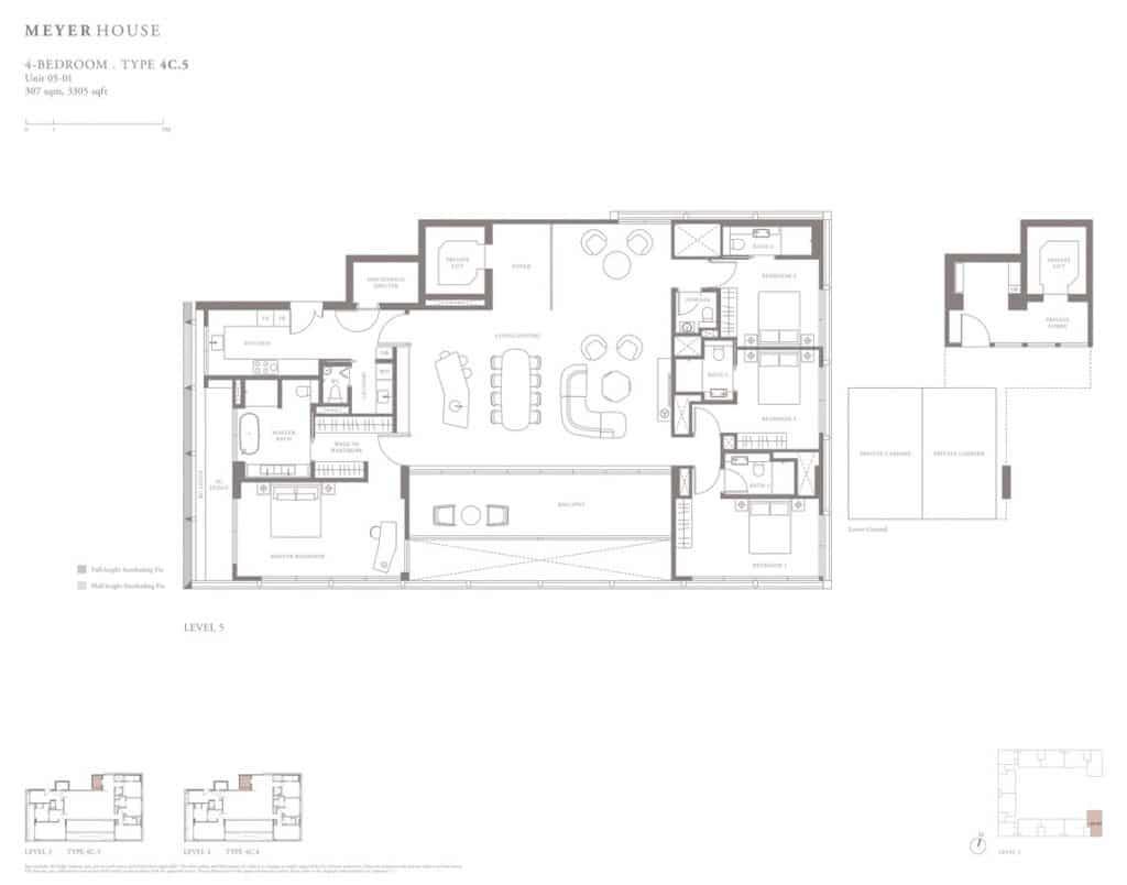 Meyer House Condo Floor Plan 4 Bedroom 4C5