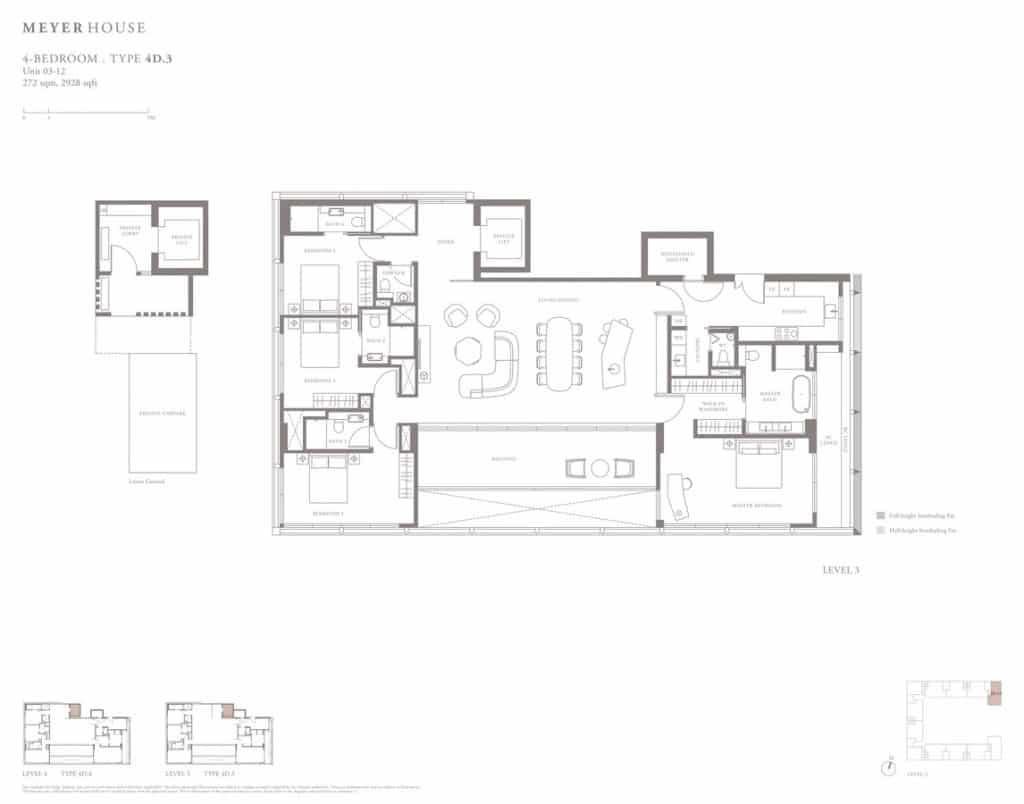 Meyer House Condo Floor Plan 4 Bedroom 4D3