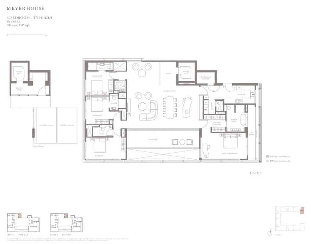 Meyer House Condo Floor Plan 4 Bedroom 4D5