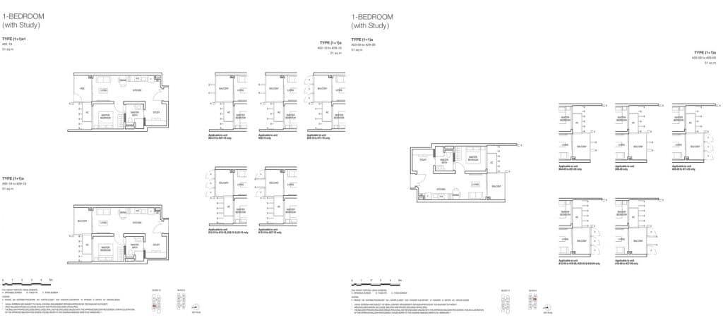 Midwood Condo Floor Plan 1 Bedroom Study 1+1a 1+1a1