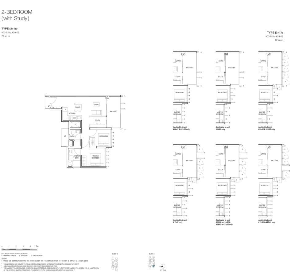 Midwood Condo Floor Plan 2 Bedroom Study 2+1b