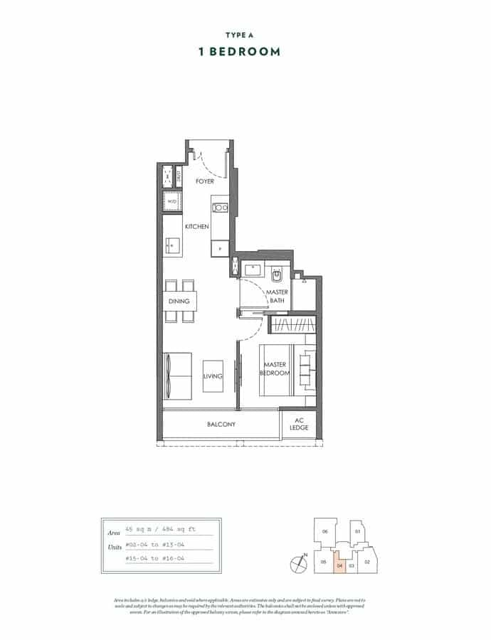 NYON Condo Floor Plan 1 Bedroom A