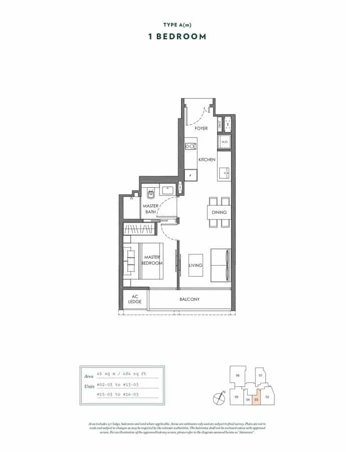 NYON Condo Floor Plan 1 Bedroom Am