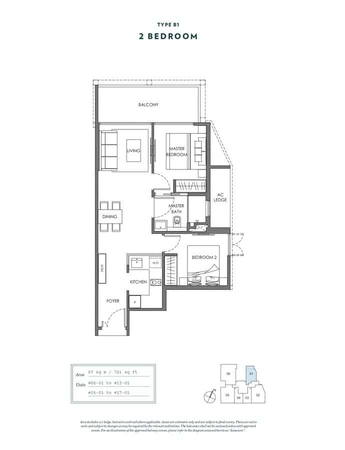NYON Condo Floor Plan 2 Bedroom B1