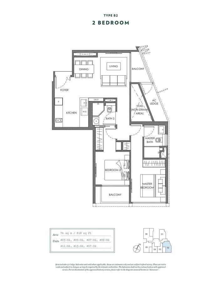 NYON Condo Floor Plan 2 Bedroom B2