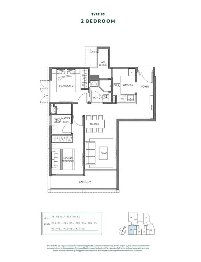 NYON Condo Floor Plan 2 Bedroom B3