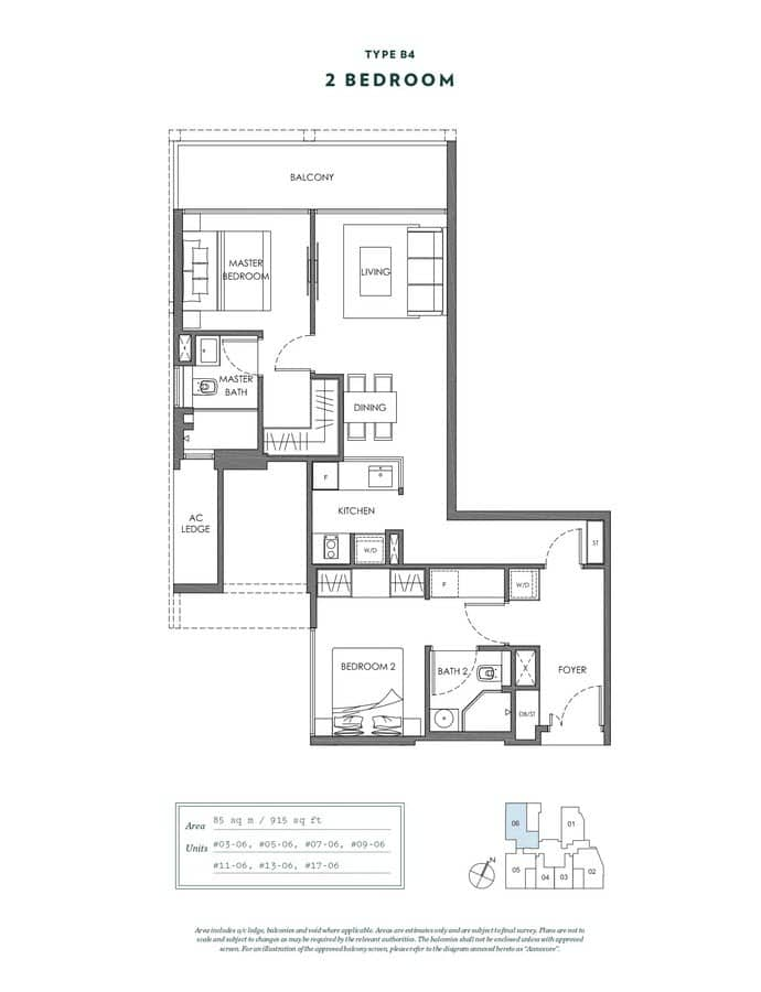 NYON Condo Floor Plan 2 Bedroom B4