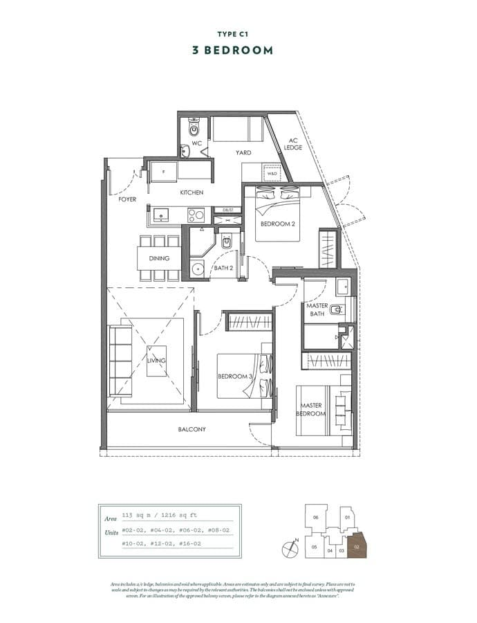 NYON Condo Floor Plan 3 Bedroom C1