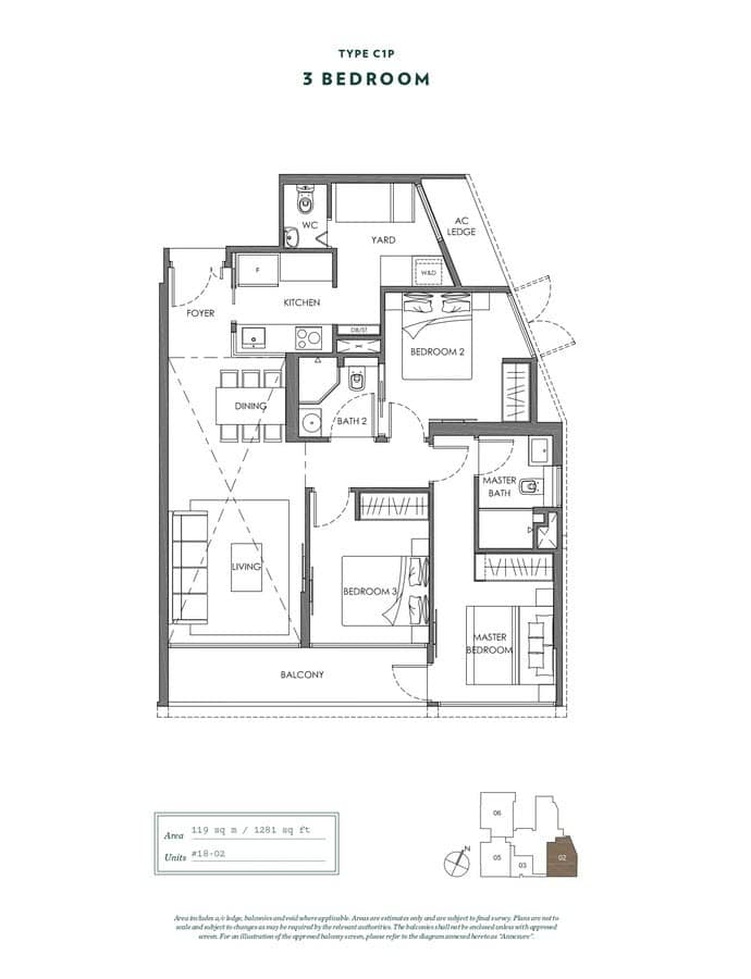 NYON Condo Floor Plan 3 Bedroom C1P