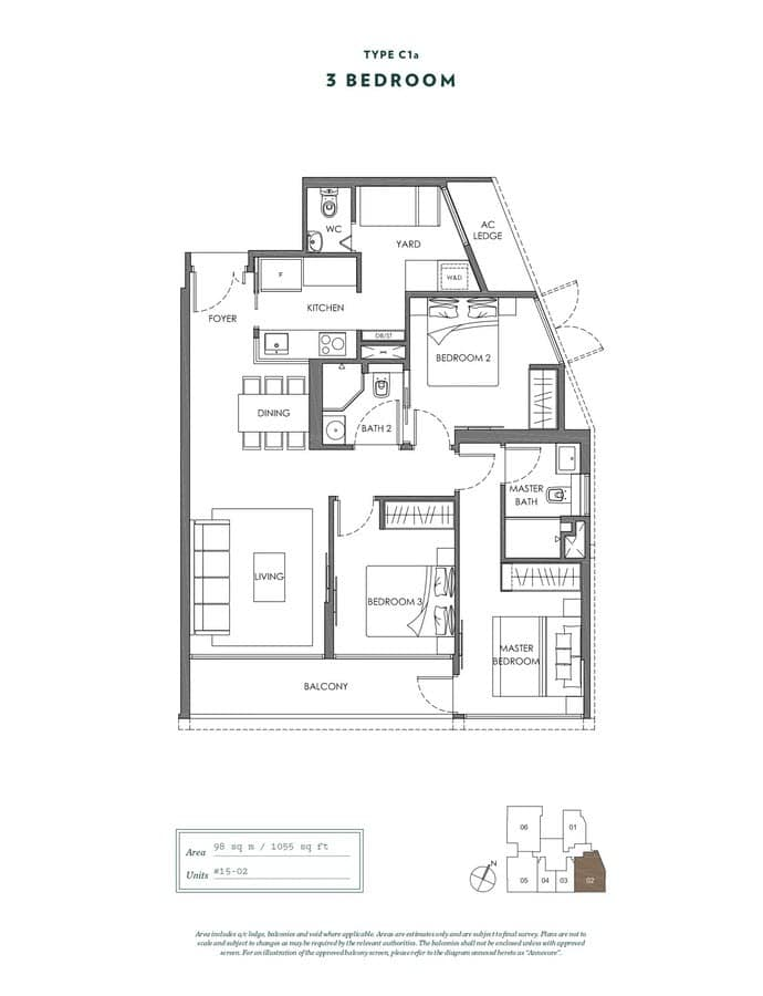 NYON Condo Floor Plan 3 Bedroom C1a