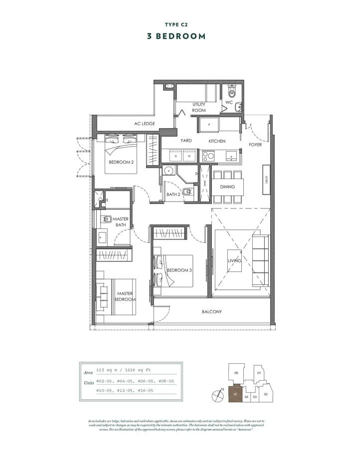 NYON Condo Floor Plan 3 Bedroom C2