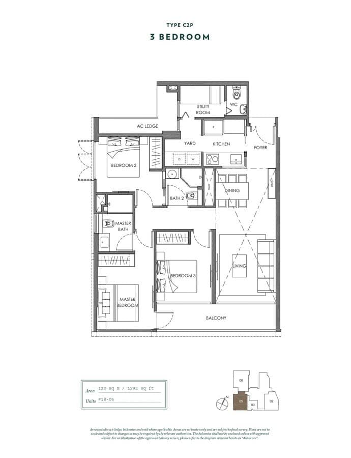 NYON Condo Floor Plan 3 Bedroom C2P
