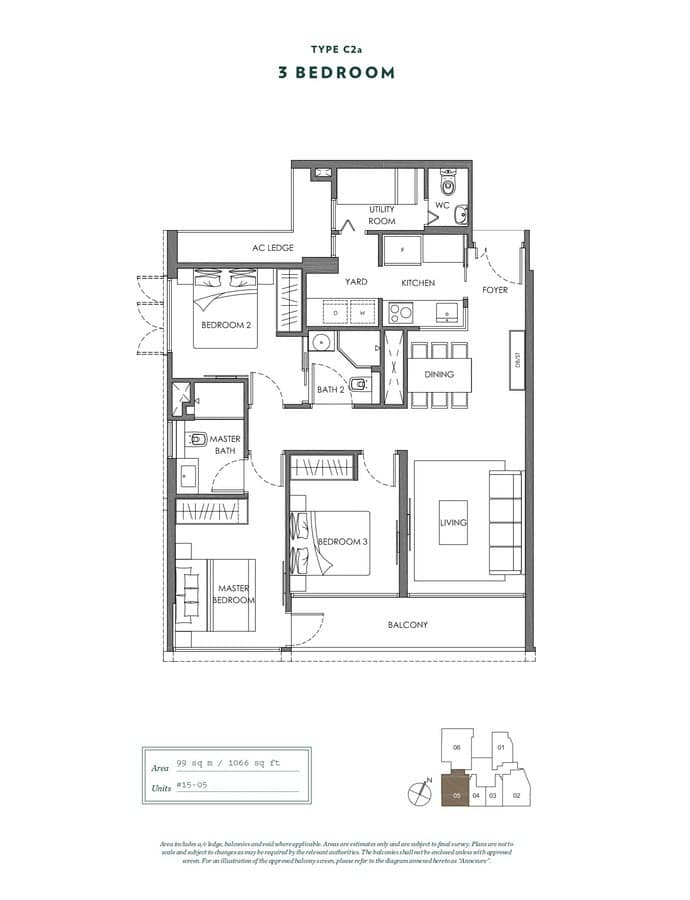 NYON Condo Floor Plan 3 Bedroom C2a