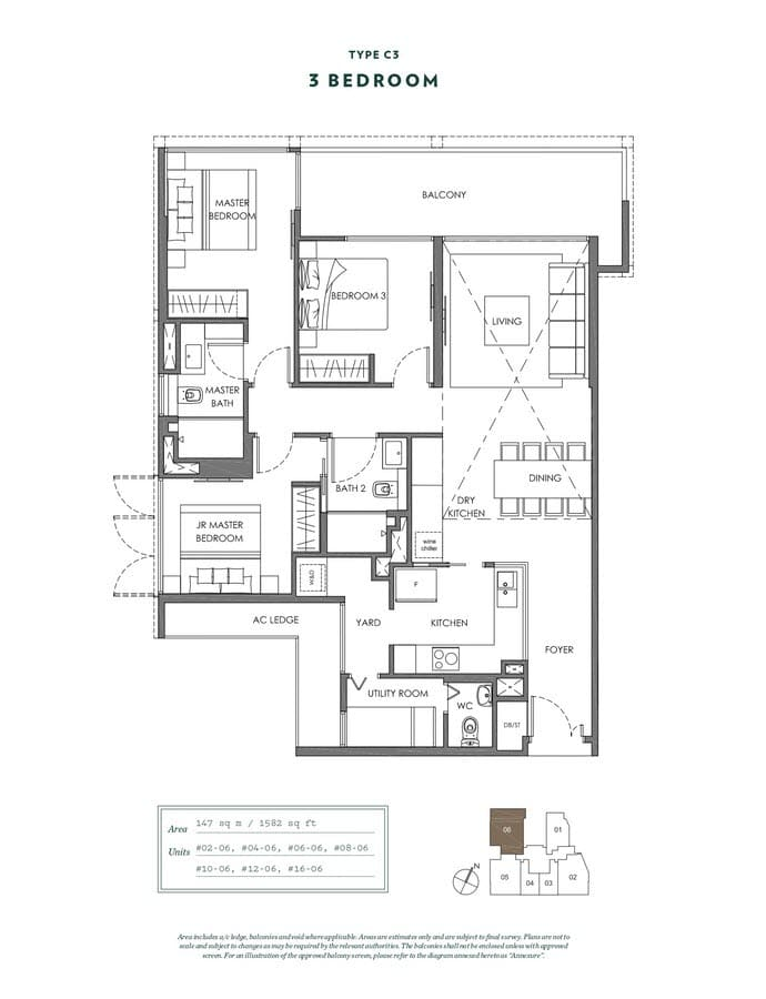 NYON Condo Floor Plan 3 Bedroom C3