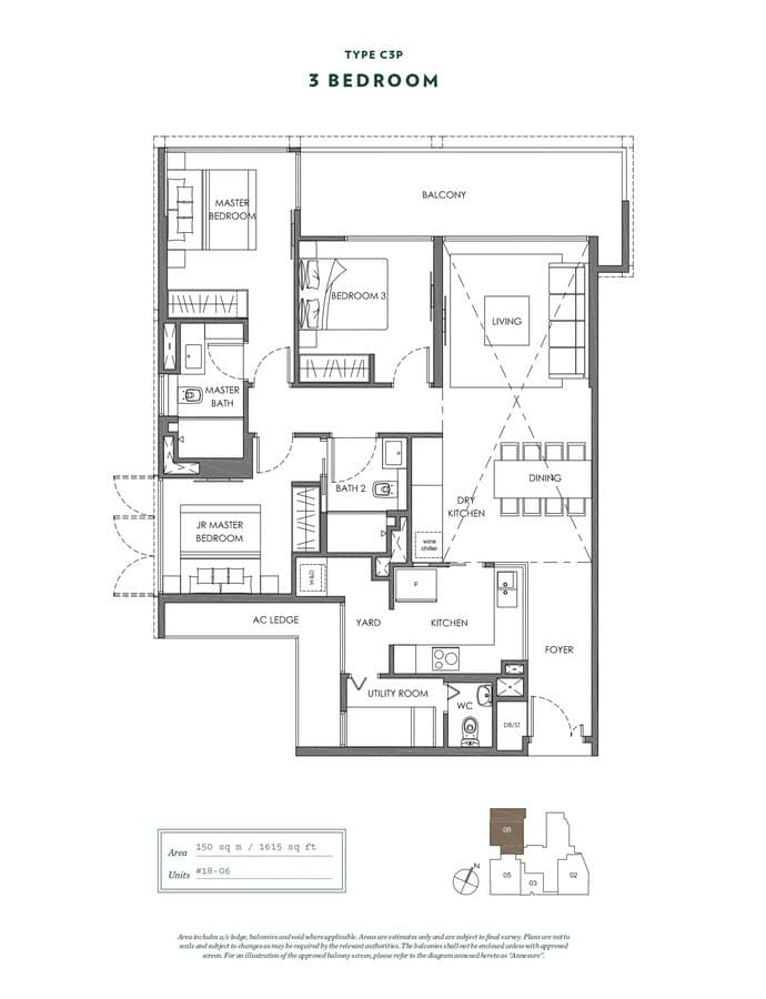 NYON Condo Floor Plan 3 Bedroom C3P