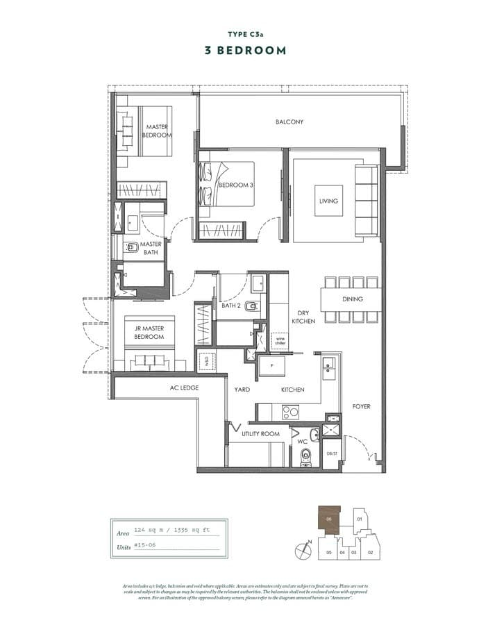 NYON Condo Floor Plan 3 Bedroom C3a