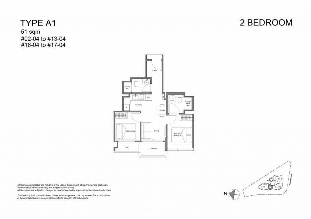 Neu at Novena Condo Floor Plan 2 Bedroom A1