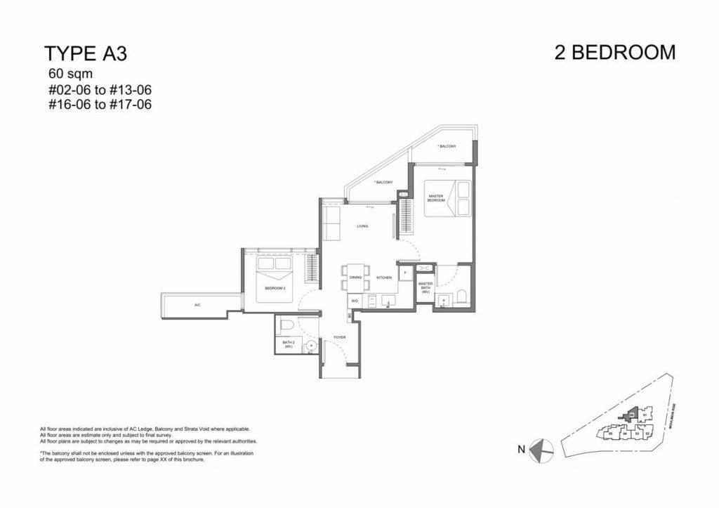 Neu at Novena Condo Floor Plan 2 Bedroom A3