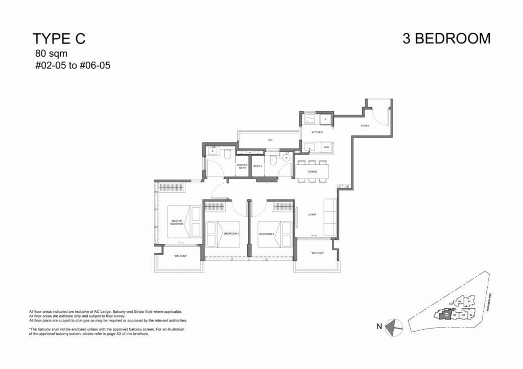 Neu at Novena Condo Floor Plan 3 Bedroom C