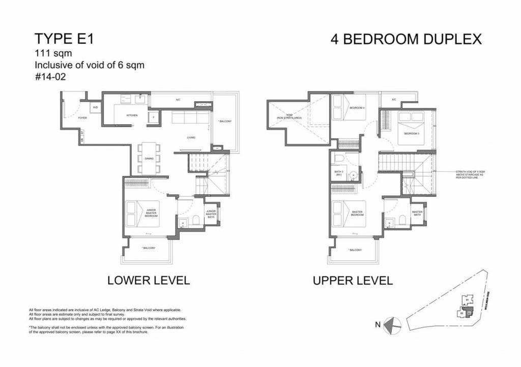Neu at Novena Condo Floor Plan 4 Bedroom Duplex E1