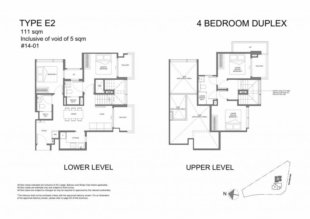 Neu at Novena Condo Floor Plan 4 Bedroom Duplex E2