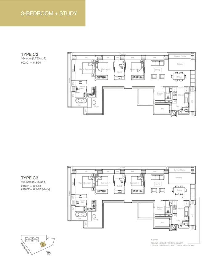 Nouvel-18-Condo-Floor-Plan-3-Bedroom-Study-C2-C3
