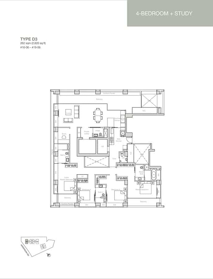 Nouvel-18-Condo-Floor-Plan-4-Bedroom-Study-D3