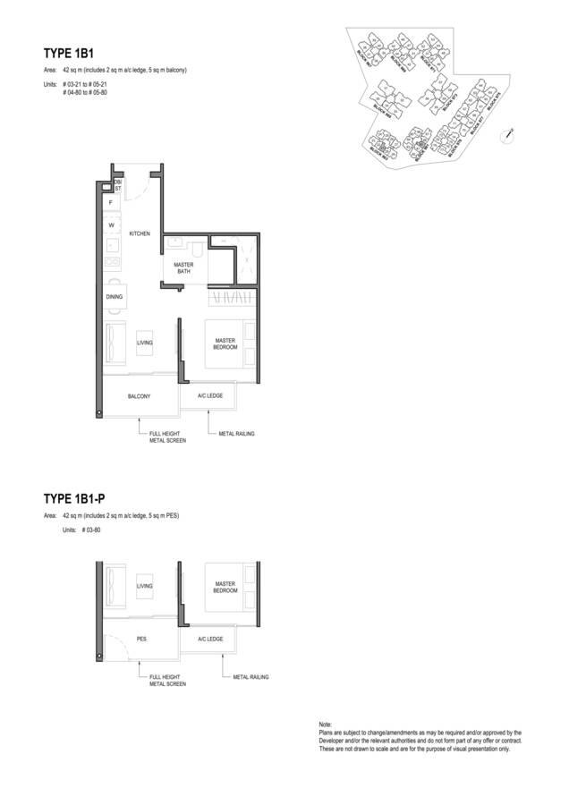 Parc Komo Condo Floor Plan 1 Bedroom 1B1 1B1P
