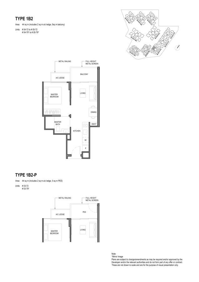 Parc Komo Condo Floor Plan 1 Bedroom 1B2 1B2P
