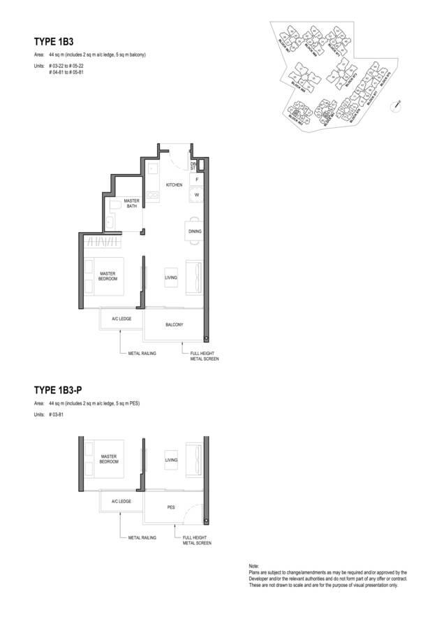 Parc Komo Condo Floor Plan 1 Bedroom 1B3 1B3P