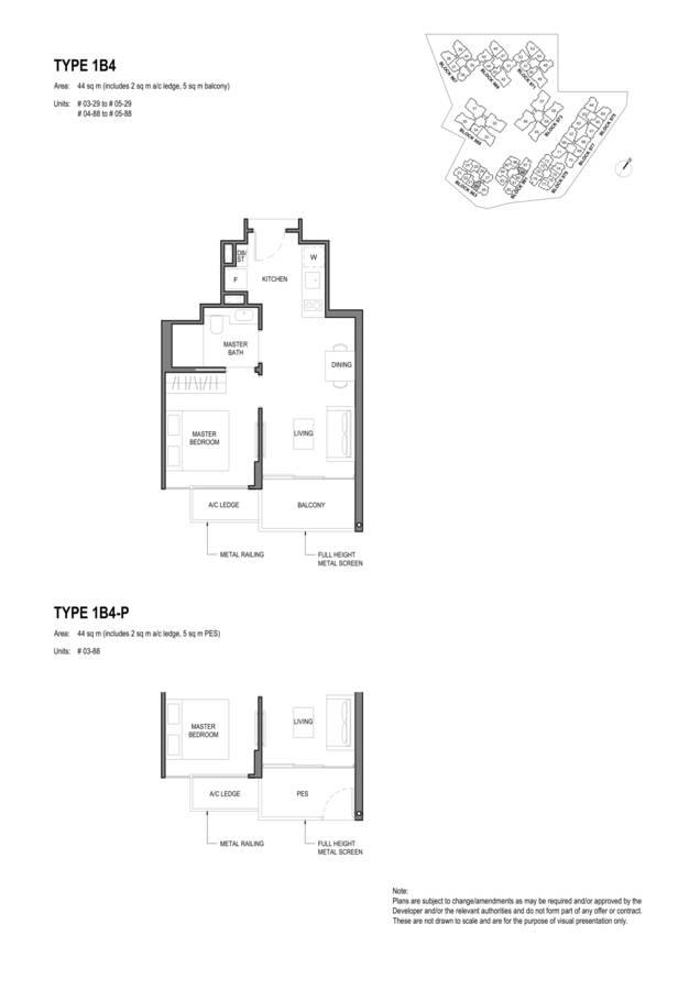 Parc Komo Condo Floor Plan 1 Bedroom 1B4 1B4P