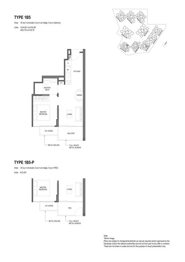 Parc Komo Condo Floor Plan 1 Bedroom 1B5 1B5P