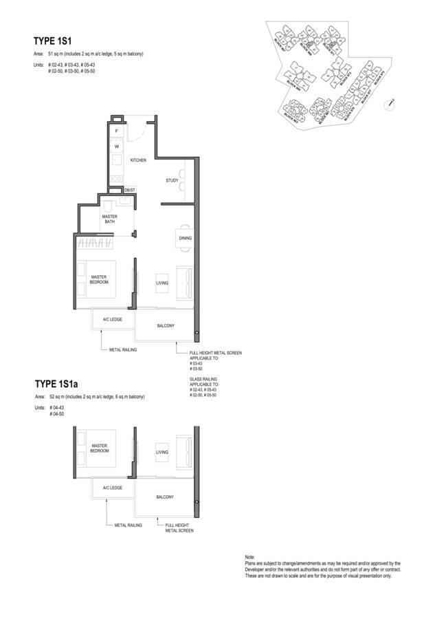 Parc Komo Condo Floor Plan 1 Bedroom Study 1S1 1S1a