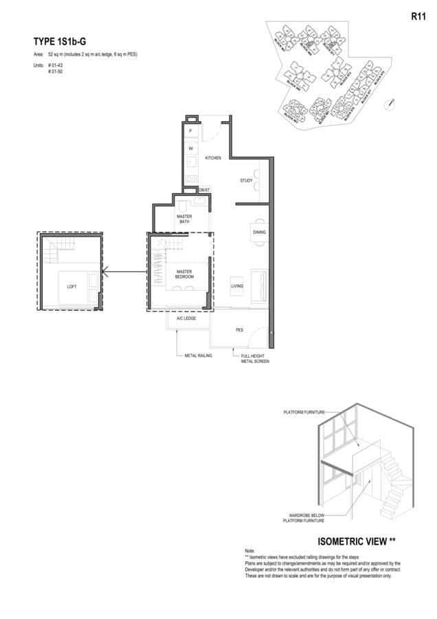 Parc Komo Condo Floor Plan 1 Bedroom Study 1S1bG