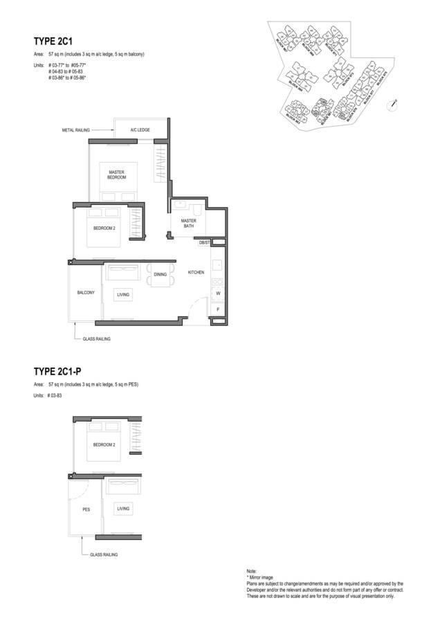 Parc Komo Condo Floor Plan 2 Bedroom Compact 2C1 2C1P