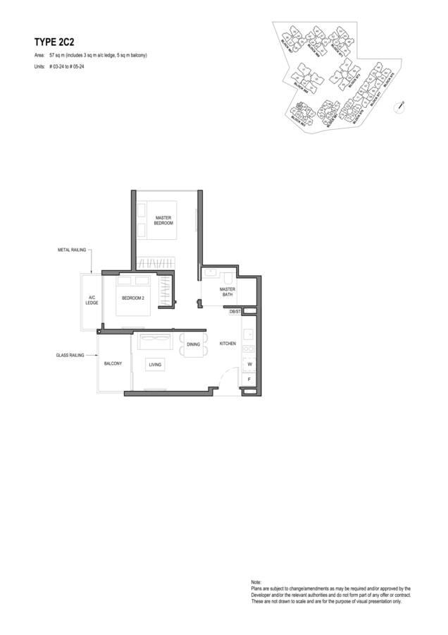 Parc Komo Condo Floor Plan 2 Bedroom Compact 2C2