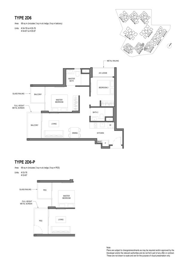 Parc Komo Condo Floor Plan 2 Bedroom Deluxe 2D6 2D6P
