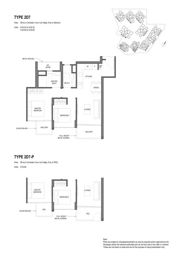 Parc Komo Condo Floor Plan 2 Bedroom Deluxe 2D7 2D7P