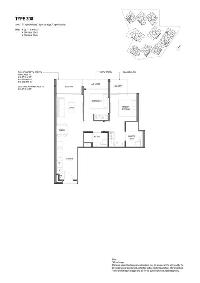 Parc Komo Condo Floor Plan 2 Bedroom Deluxe 2D8