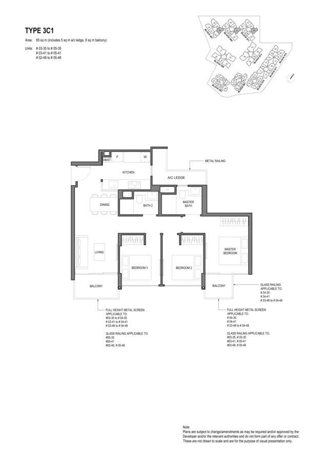 Parc Komo Condo Floor Plan 3 Bedroom Compact 3C1