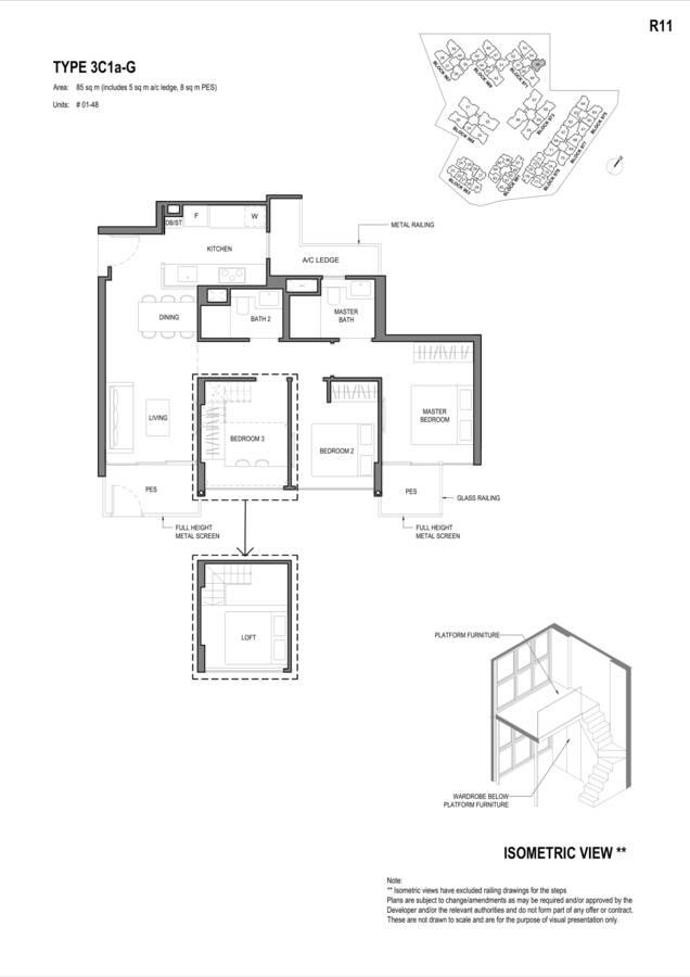 Parc Komo Condo Floor Plan 3 Bedroom Compact 3C1aG
