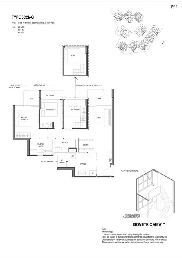 Parc Komo Condo Floor Plan 3 Bedroom Compact 3C2bG