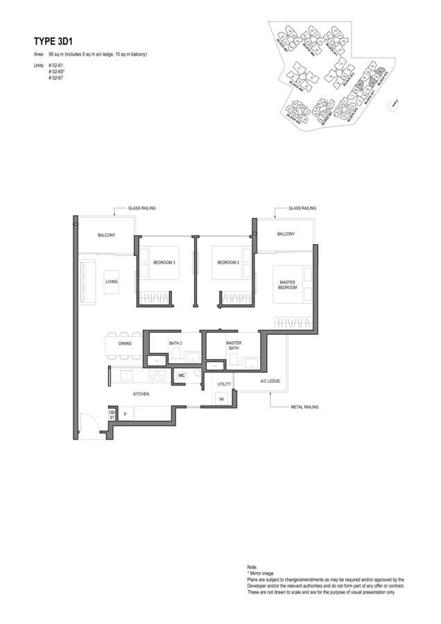 Parc Komo Condo Floor Plan 3 Bedroom Deluxe 3D1