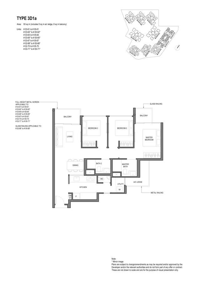 Parc Komo Condo Floor Plan 3 Bedroom Deluxe 3D1a