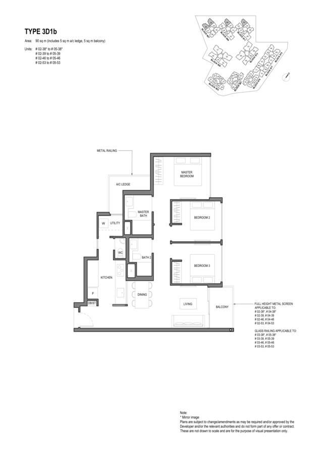 Parc Komo Condo Floor Plan 3 Bedroom Deluxe 3D1b